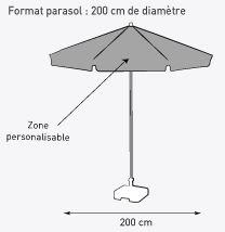 Impression parasol personnalisé, parasol de plage publicitaire